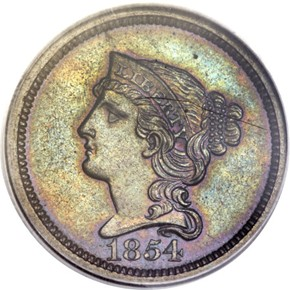 1854 J-161 1C PF obverse