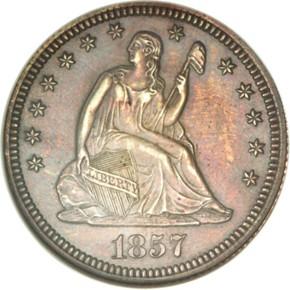 1857 J-188 25C PF obverse