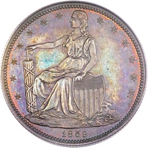 1859 J-236 SILVER PLATED 50C PF obverse