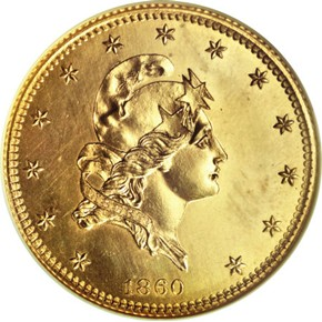 1860 J-272 GILT $5 PF obverse