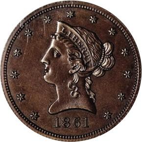 1861 J-287 $10 PF obverse