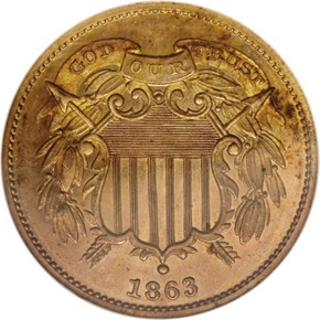 1863 J-312a 2C PF obverse
