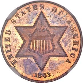 1863 J-321 3CS PF obverse