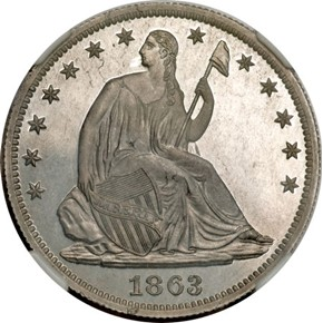 1863 J-344 50C PF obverse