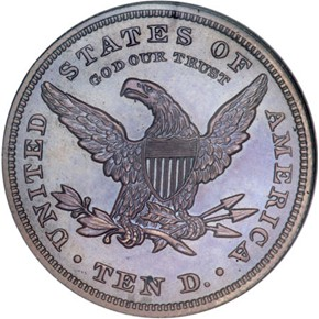 1863 J-352 BRONZED $10 PF reverse