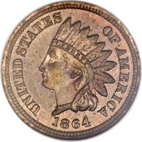 1864 J-356b 1C PF obverse