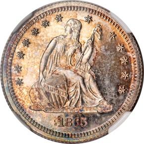 1865 J-425 25C PF obverse
