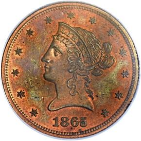 1865 J-450 $10 PF obverse
