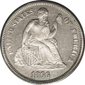 1866 J-534 10C PF obverse