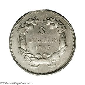 1866 J-543 GILT $3 PF reverse