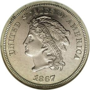 1867 J-562 5C PF obverse