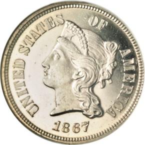 1867 J-570 5C PF obverse