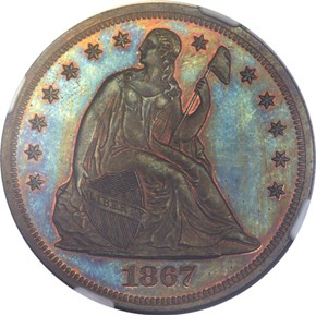 1867 J-592 S$1 PF obverse