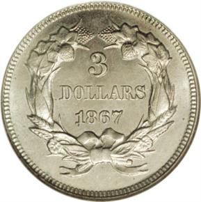 1867 J-597 $3 PF reverse