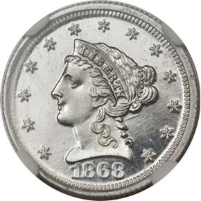 1868 J-654 $2.5 PF obverse