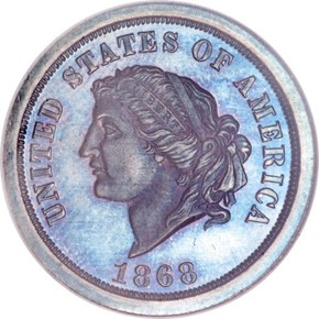1868 J-656 $5 PF obverse