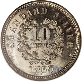 1869 J-709 10C PF reverse