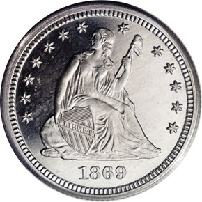 1869 J-740 25C PF obverse