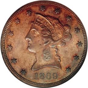 1869 J-781 $10 PF obverse