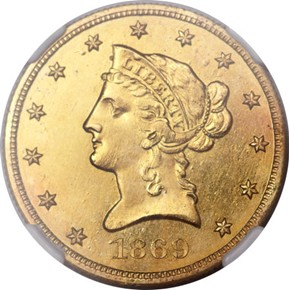 1869 J-782 GILT $10 PF obverse