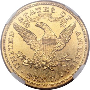 1869 J-782 GILT $10 PF reverse