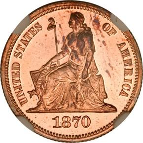 1870 J-827 10C PF obverse