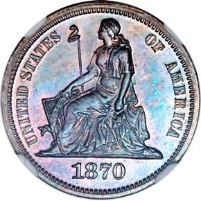 1870 J-828 10C PF obverse