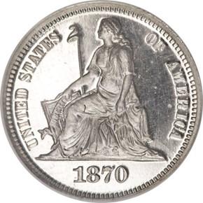 1870 J-835 10C PF obverse
