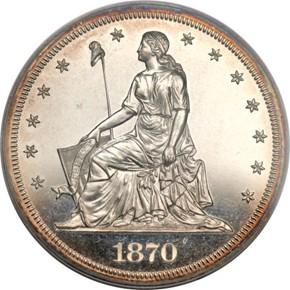 1870 J-997 S$1 PF obverse