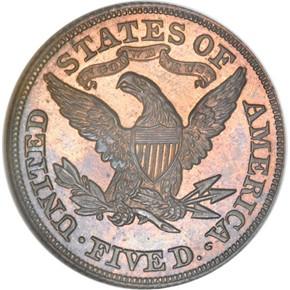 1871 J-1170 $5 PF reverse