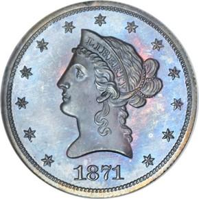 1871 J-1173 $10 PF obverse