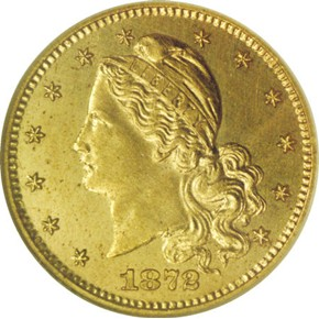1872 J-1225 GILT G$1 PF obverse