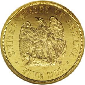 1872 J-1241 GILT $5 PF reverse