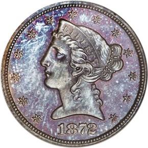 1872 J-1243 $5 PF obverse