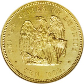 1872 J-1246 GILT $10 PF reverse