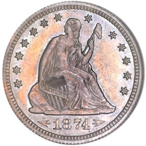 1874 J-1359 25C PF obverse