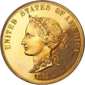 1874 J-1373 $10 PF obverse