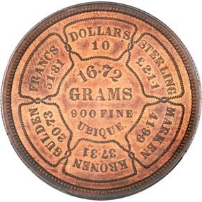1874 J-1374 GILT $10 PF reverse