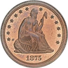 1875 J-1416 25C PF obverse