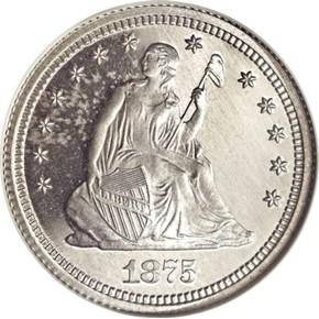 1875 J-1417 25C PF obverse