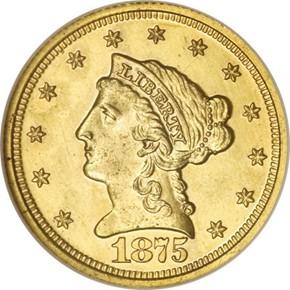 1875 J-1434 GILT $2.5 PF obverse