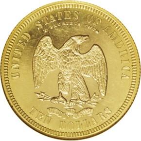 1875 J-1444 GILT $10 PF reverse