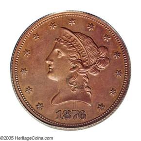1876 J-1486 GILT $10 PF obverse