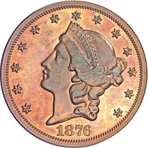 1876 J-1493 $20 PF obverse