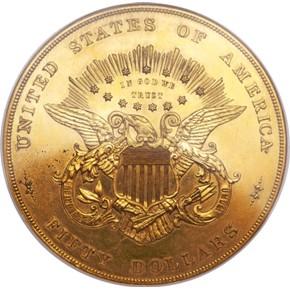 1877 J-1549 GILT $50 PF reverse