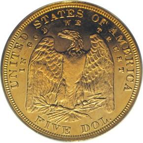 1878 J-1570 $5 PF reverse