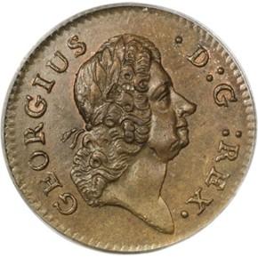 1723 'D:G:' HIBERNIA 1/4P MS obverse