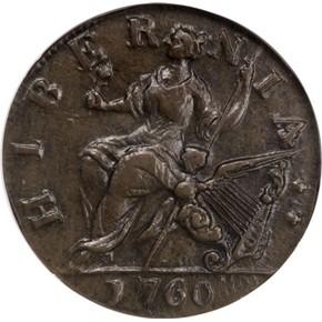 1760 NO 'P' HIBERNIA-VOCE POPULI 1/2P MS reverse