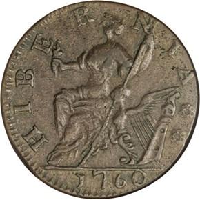 1760 'P' IN FRONT HIBERNIA-VOCE POPULI 1/2P MS reverse
