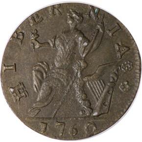 1760 'P' BELOW HIBERNIA-VOCE POPULI 1/2P MS reverse